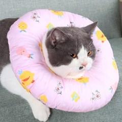 고양이 강아지 원형 쿠션 넥카라 목보호대