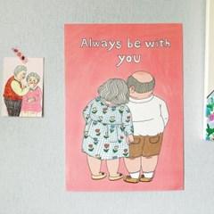 노부부 일러스트 포스터