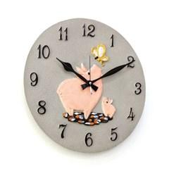 (kkkd021)저소음 400 돼지 시계 (그레이)_(1506156)