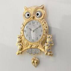 (kspz355)저소음 아콘부엉이 시계 (금)_(1506147)