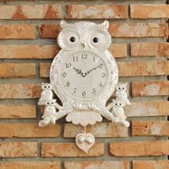 (kspz356)저소음 아콘부엉이 시계 (은)_(1506146)