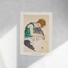 인테리어 패브릭 포스터_에곤쉴레 앉아있는여자