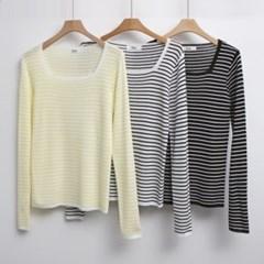 스퀘어넥 슬림핏 날씬핏 줄무늬 티셔츠