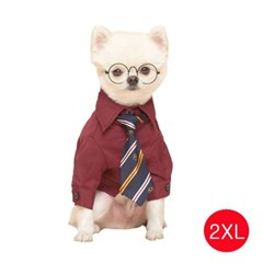 강아지 메리미 셔츠 와인 2XL