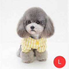 체크노랑오리 강아지 셔츠 모자미포함 옐로우 L