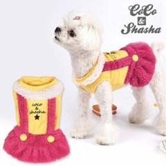 코코앤샤샤 로고 멜빵원피스 옐로우+핑크