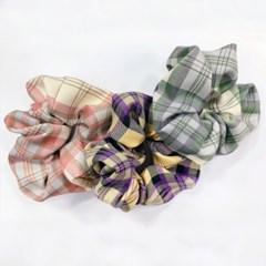 [3개세트][3color] 캐쥬얼 톡톡 체크 스크런치 곱창 머리끈 세트