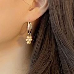 진주비즈 꽃 귀걸이