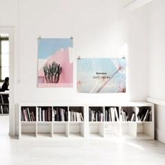 패브릭 포스터 F348 빈티지 풍경 사진 액자 선인장 있는 풍경