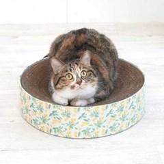 꽃무늬 고양이 원형 스크래쳐_(764512)