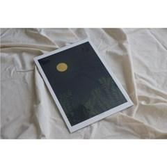 민트초코별 인테리어그림 [보름달] A3/A2 일러스트 포스터