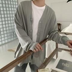 봄 남성 빅사이즈 오버핏 V넥 단추 박시 니트 롱가디건