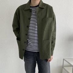 봄 남성 오버핏 카라 단추 쓰리포켓 코튼 밀리터리 자켓