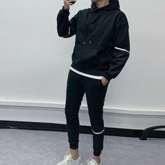 봄 상하세트 라인배색 포켓 후드 맨투맨 츄리닝 조거팬츠