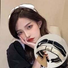 재롱 리본 배색줄 포인트 머리띠 헤어밴드_(2537943)