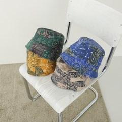 페이즐리 깊은 대두 꾸안꾸 버킷햇 벙거지 모자