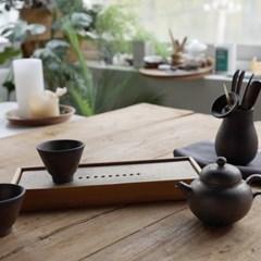 사각 도자기 & 대나무 차판 - Ractangle Ceramic & Bamboo Tea tray