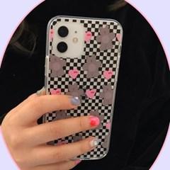 [뮤즈무드] Black Checker Bear (clear) 아이폰케이스