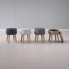 인조가죽 촬영용 수납 의자 원형 다용도 쿠션형 사이드 스툴 stool