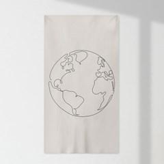 인테리어 패브릭 포스터_지구 드로잉