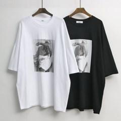 7부 소매 롱 루즈핏 캐주얼 티셔츠