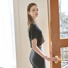여성 요가복 DEVI-T0018-블랙 필라테스 티셔츠 반팔 홀릭크롭티