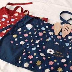 큐트 양 꽃무늬 허리 앞치마
