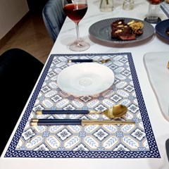 일회용 종이 식탁매트 10P 세트 블루 옐로우 패턴 엘라다이닝