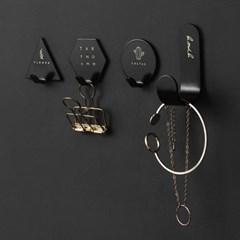 마이 레터링 접착식 후크 4p(블랙)/다용도 벽고리
