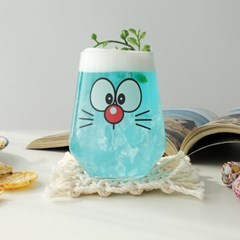 모애 레트로감성 홈카페 디자인 유리컵 후엠아이2D 425ml 1개