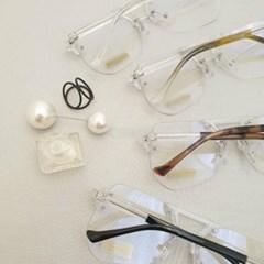 무테 사각 도수없는 가벼운 투명한 데일리 패션 안경