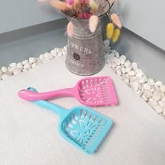 고양이 얼굴모양 거름구멍 귀여운 화장실 모래삽 색상랜덤