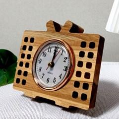 티크 집성목 텔레비젼 감성 스탠드 시계