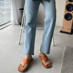 여성 여성 가죽 스퀘어토 와이드 스트랩 쪼리 슬리퍼 DONA 6401