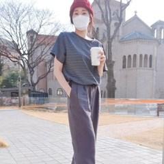 단가라 반팔티셔츠 줄무늬 여성 스트라이프티