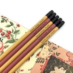나미브 원목연필 5본입 세트(Mustard Yellow+Rust Red) / 메시지각인