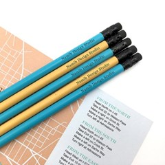 나미브 원목연필 5본입세트(Ocean Blue+Mustard Yellow)/메시지각인
