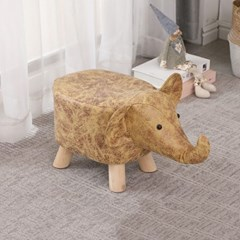 인테리어 동물 원목 패브릭 발받침 미니 스툴 의자