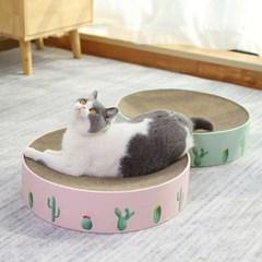 대형 원형 고양이 방석+스크래쳐 핑크
