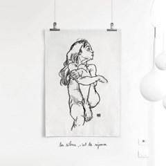 패브릭 포스터 여자 드로잉 그림 천 액자 에곤 쉴레 67
