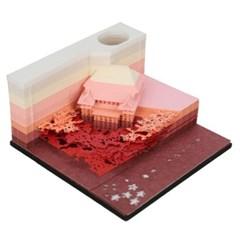 3D입체 기요미즈데라 포스트잇 메모지 볼펜꽂이 핑크