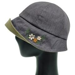 KCU05.꽃장식 린넨 중년 여성 벙거지 모자 버킷햇