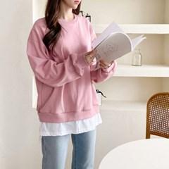 여자 라운드넥 무지 긴팔 맨투맨 티셔츠