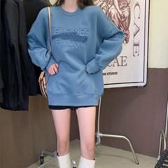 여자 봄 가을 스웨트 레터링 엠보 오버 맨투맨 티셔츠