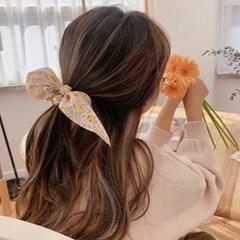 [1+1][4color] 화사한 봄 꽃 플라워 리본 스크런치 머리끈