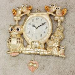 (kspz363)짝 부엉이 시계 금_(1534026)
