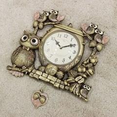 (kspz360)짝 부엉이 시계 골드_(1534023)