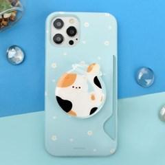 하드 고양이 냥 패턴 카드수납 카드슬림 케이스+냥이 젤리톡 세트