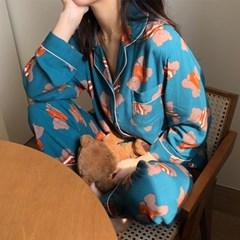 찰랑소재 다락방 곰돌이 잠옷 세트 파자마