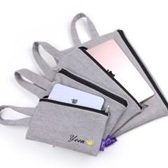 그레이 아이패드 갤럭시탭 태블릿 파우치 가방/이름자수 핸드폰가방